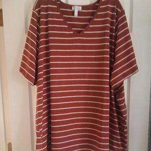 Denim & Co Striped Jersey Tee-NWT 5X